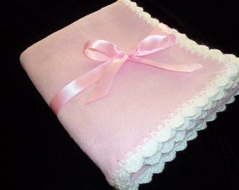Fleece Baby Blanket with Crochet Edge - Pink and White