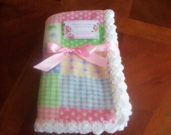 Pastel Fleece Baby Blanket with White Crochet Edge