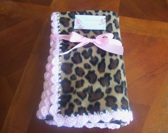 Leopard  Fleece Baby Blanket with Soft Pink Crochet Edge, Baby Blanket, Pink Blankie