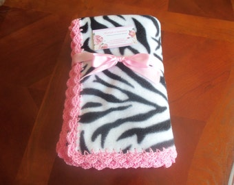 Zebra  Fleece Baby Blanket with Pink Crochet Edge, Baby Blanket