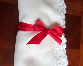 Baby Blanket - True White Fleece with  White Crochet Edge