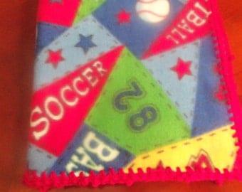 Baby Blanket - Sports Fleece with Red Crochet Edge