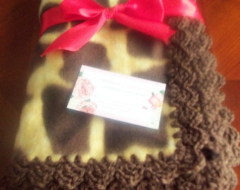 Baby Blanket - Giraffe Fleece with Brown Crochet Edge