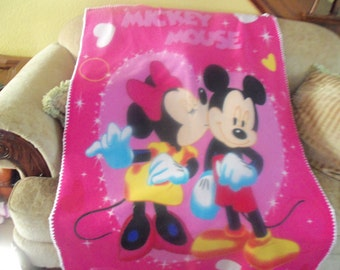 Baby Blanket - Mickey and Minnie Fleece with White Crochet Edge