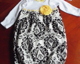 Layette Gown Set - Black and White Damask with Yellow Flower