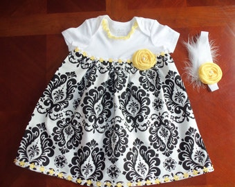 Onsie Baby Dress Set, Damask,  Yellow, Dress with Headband, Fancy Dress, Girl Dress, Shower Gift, Birthday, Girl Outfit, Special Occasion