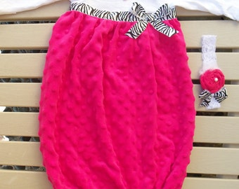 Baby Layette, Baby Gown Set - Hot Pink Minky with Zebra and Headband, Coming Home Outfit, Sleep Sack, Infant Gown, Proto Prop, Baby Shower
