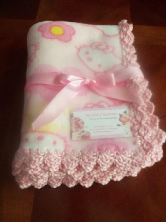 Crochet Pattern For Hello Kitty Baby Blanket : Baby Blanket Hello Kitty Fleece with Pink by mariahcreations