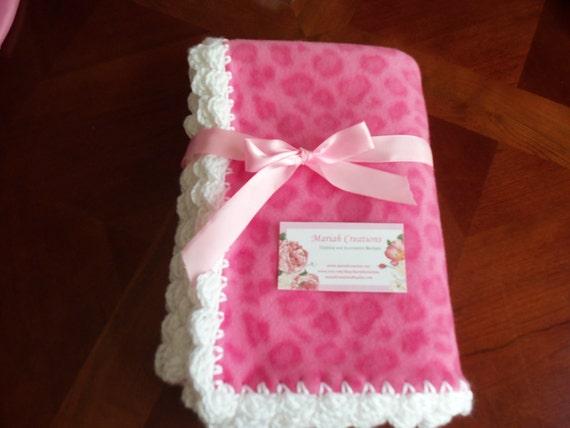 Baby Blanket -Pink Leopard  Fleece with White Crochet Edge