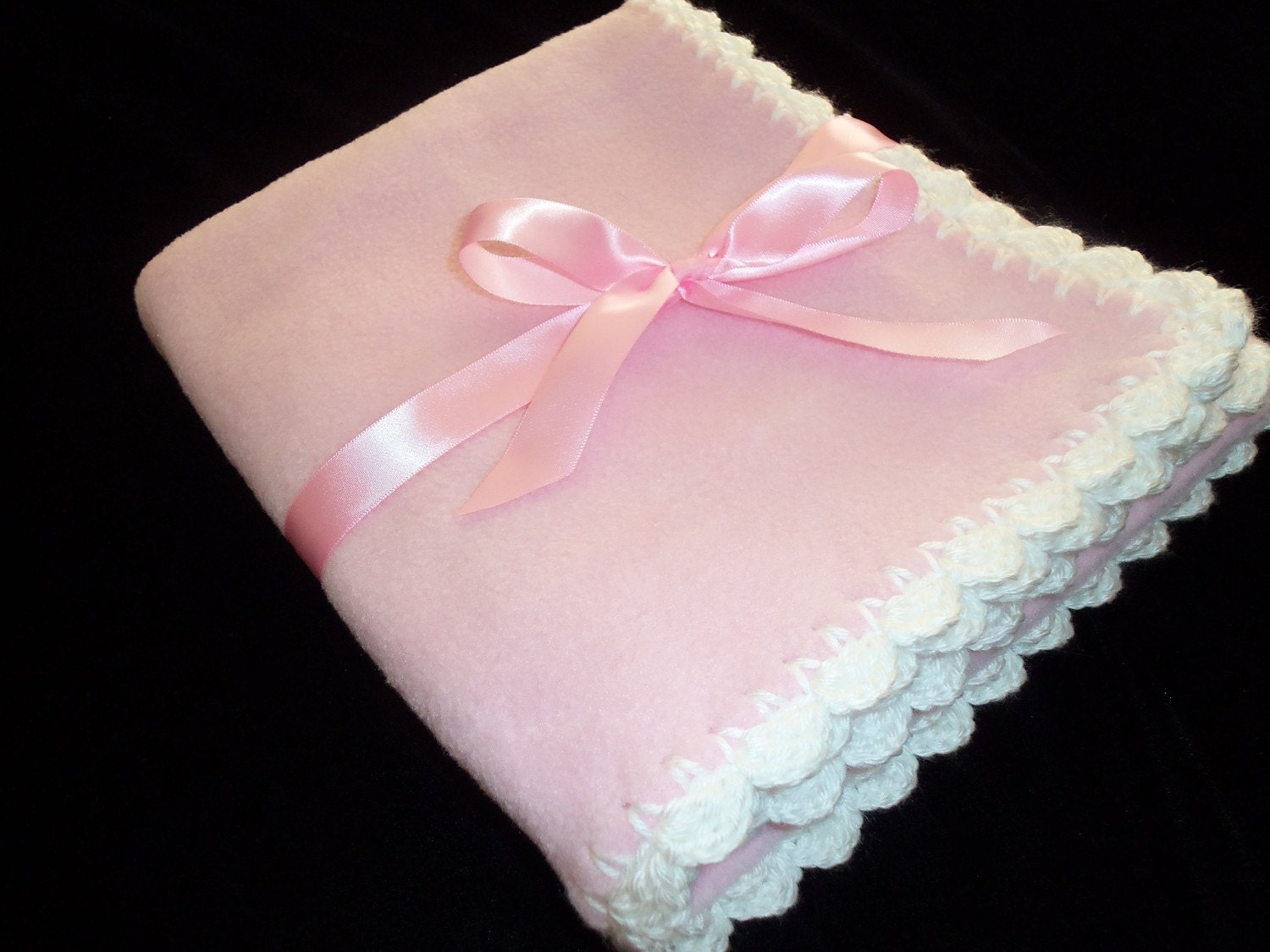 Fleece Baby Blanket with Crochet Edge Pink and by mariahcreations