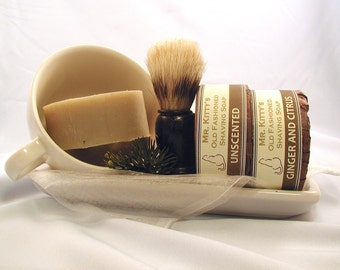 Old Fashioned Shaving Set - Cup, Soap and Brush - Gift Packaged