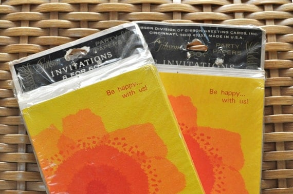 Vintage 1960s Invitations Be Happy With Us NOS Two Sets of Eight Brilliant Yellow and Orange