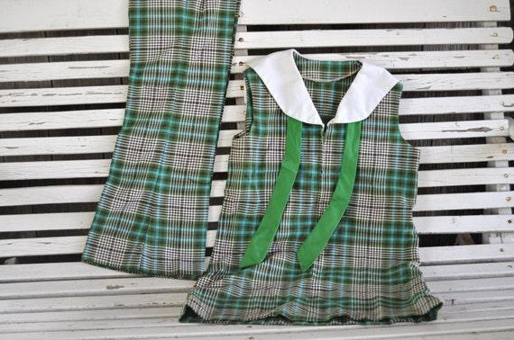 Vintage Girls Pantsuit Two Piece 70s Era Very Brady Bunch or Costume Uniform