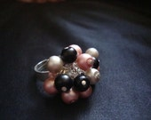 Satin Pink Black Grey Bauble Ring