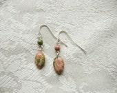 Unakite Dangle Earrings - Green / Pink