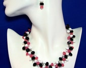 Pink Necklace, Black Necklace, White Necklace, Wire Crochet, Twisted Wire, Unique, Necklace Earring Set, Adjustable Necklace, Spring Jewelry