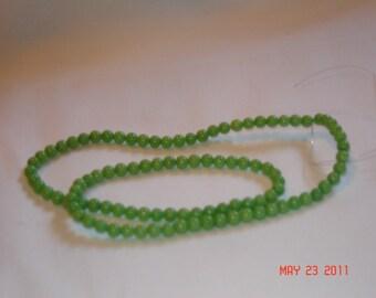 4mm round GENUINE green PERIDOT gemstone beads, 15 inch strand (H29)