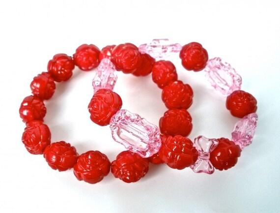Carved Red Rose and Pink Lucite Bracelet Set