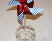 """Red Glitter and Blue Gingham Pinwheel 8"""" Favor Decoration"""