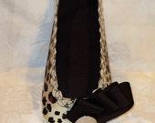 Leopard Print Ballet Flat Paper Shoe Gift Box Favor Box