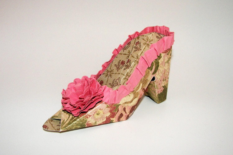 vintage pattern high heel paper shoe