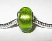1 pc. Silver Plated Green Foil Donut Shape Lampwork Bead - No.59- Fits Pandora - 13mm