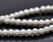 6mm Ivory Glass Pearl Imitation Round Beads - 32 inch strand