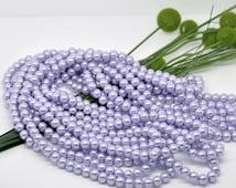 8mm Pastel Light Purple Glass Pearl Imitation Round Beads - 32 inch strand