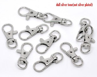 LARGE - 20 pcs. Silver Tone Lobster Swivel Clasps for Key Ring - 37 x 16mm ( 1/2 inch) - Claw Clasps