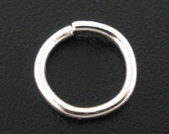 100 pcs Silver Plated Open Jump Rings - 6mm - 19 Gauge