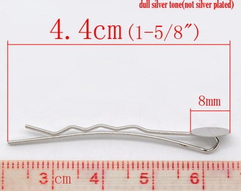 100 pcs. Silver Tone Bobby Pins - 8mm Glue Pad