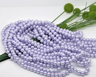 8mm Pastel Light Purple Glass Pearl Imitation Round Beads - 32 inch strand