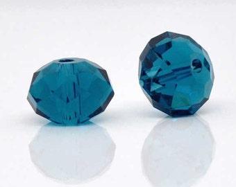SALE - 70 pcs. Peacock Blue Crystal Quartz Faceted Rondelle Beads - 8mm