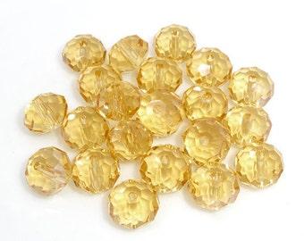 SALE - 70 pcs. Champagne Crystal Quartz Faceted Rondelle Beads - 8mm