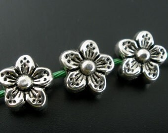 50 pcs Silver Tone Flower Side by Side Spacer Beads- 9mm