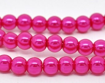 8mm Pink Glass Pearl Imitation Round Beads - 32 inch strand