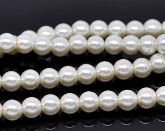 10mm Ivory Glass Pearl Imitation Round Beads - 16 inch strand