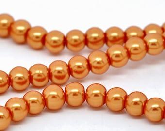 8mm Orange Glass Pearl Imitation Round Beads - 32 inch strand