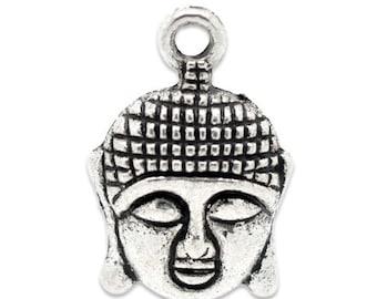 50 pcs. Antique Silver Tone Buddha Face Charms Pendants - 22mm x 15mm