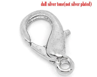 10 Silver Tone Lobster Clasps - 12mm X 7mm - Made of Alloy