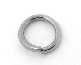 100 pcs Silver Tone Open Jump Rings 7mm - 18 Gauge