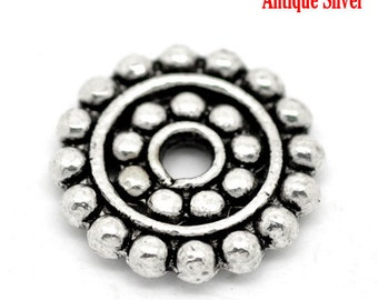 ON SALE - 50 pcs Antique Silver Tone Spacer Beads- 14mm