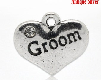 "1 or 2 or 4 pcs. Antique Silver ""Groom"" charm with rhinestone - 16mm X 14mm"
