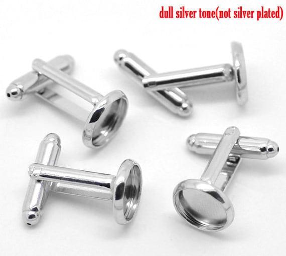 Lot of 18 Silver Tone Cufflinks (9 pairs) - 10 mm Glue Pad Setting