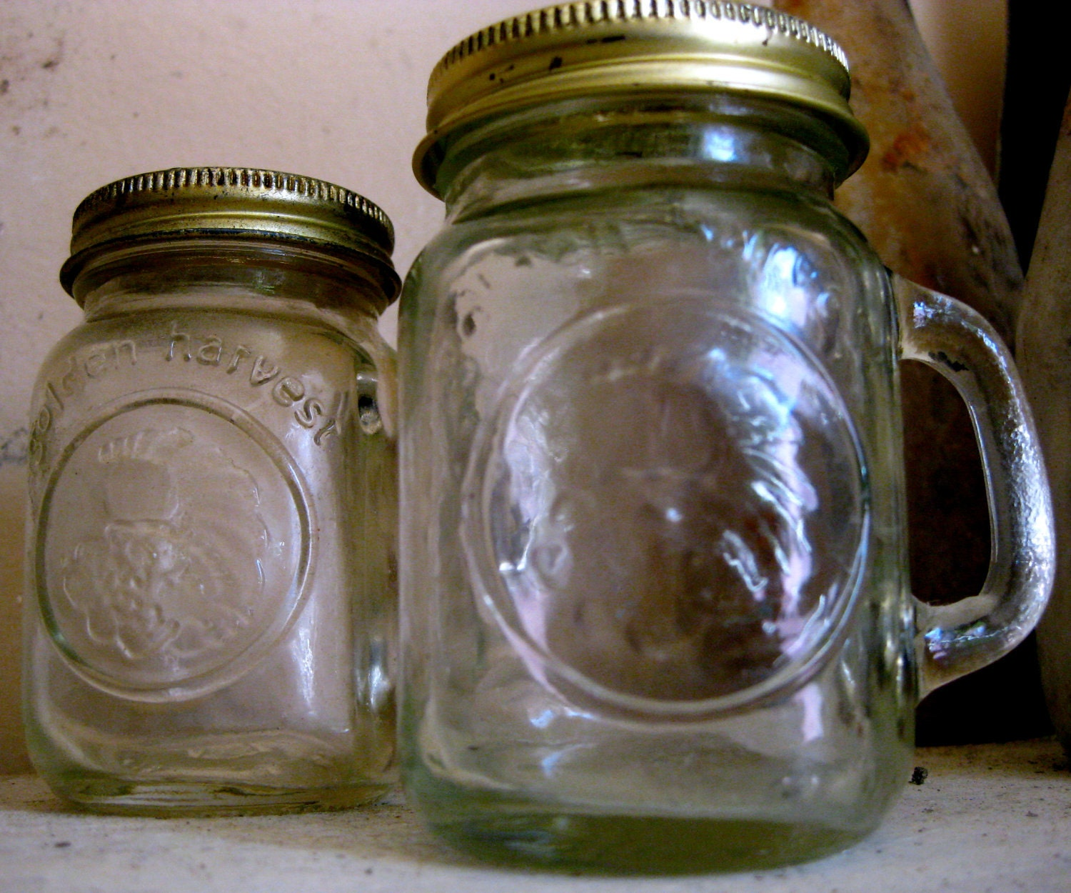 Miniature Golden Harvest Mason Jar Salt And Pepper Shakers