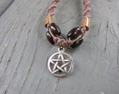 Pentacle Hemp Bracelet with Wooden Beads