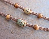 Egyptian Scarab Hemp Bracelet with Wooden Beads Style A