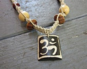 LAST ONE - Aum Carved Bone Hemp Necklace with Wooden Beads