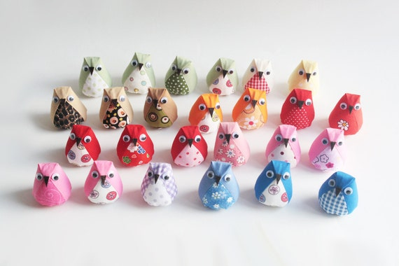 Pick 5-mini plush owls-multi color
