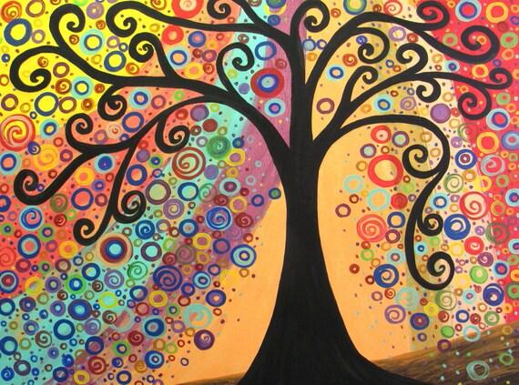 "tree painting ORANGE FANTASY artist Mariana Stauffer  40x30"" original acrylic abstract"
